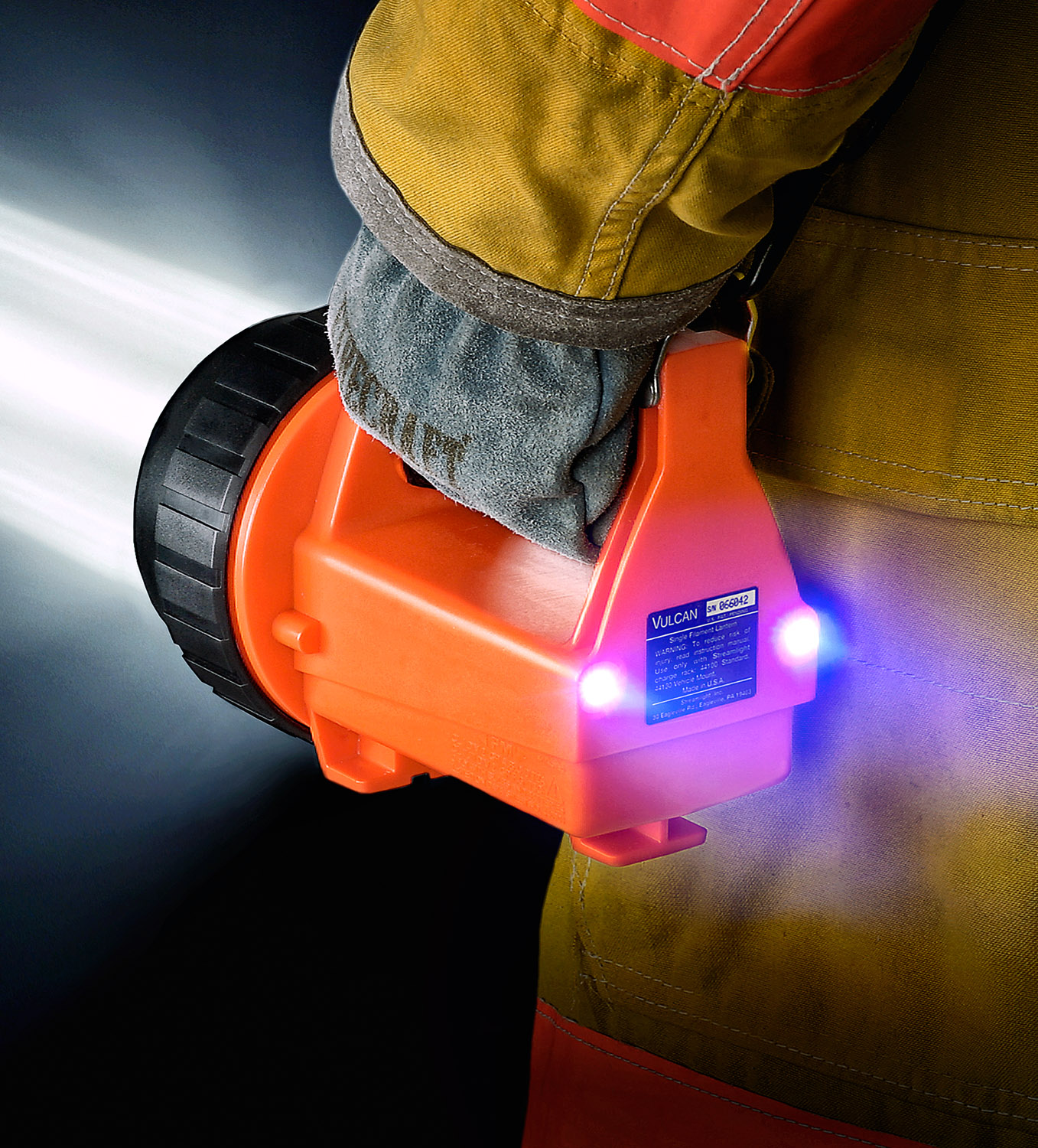 After-Ad for a flashlight designed for firefighters.